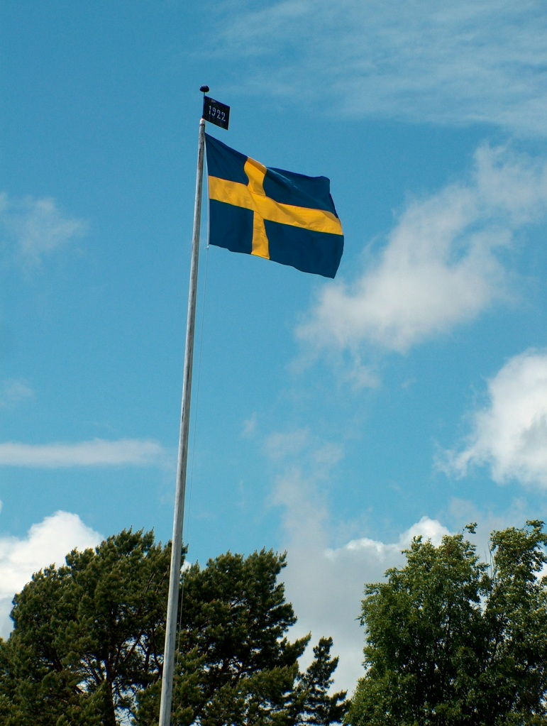 The Swedish flag is always raised