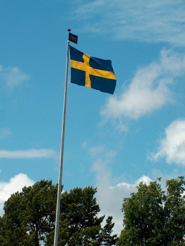 The Swedish flag is always raised