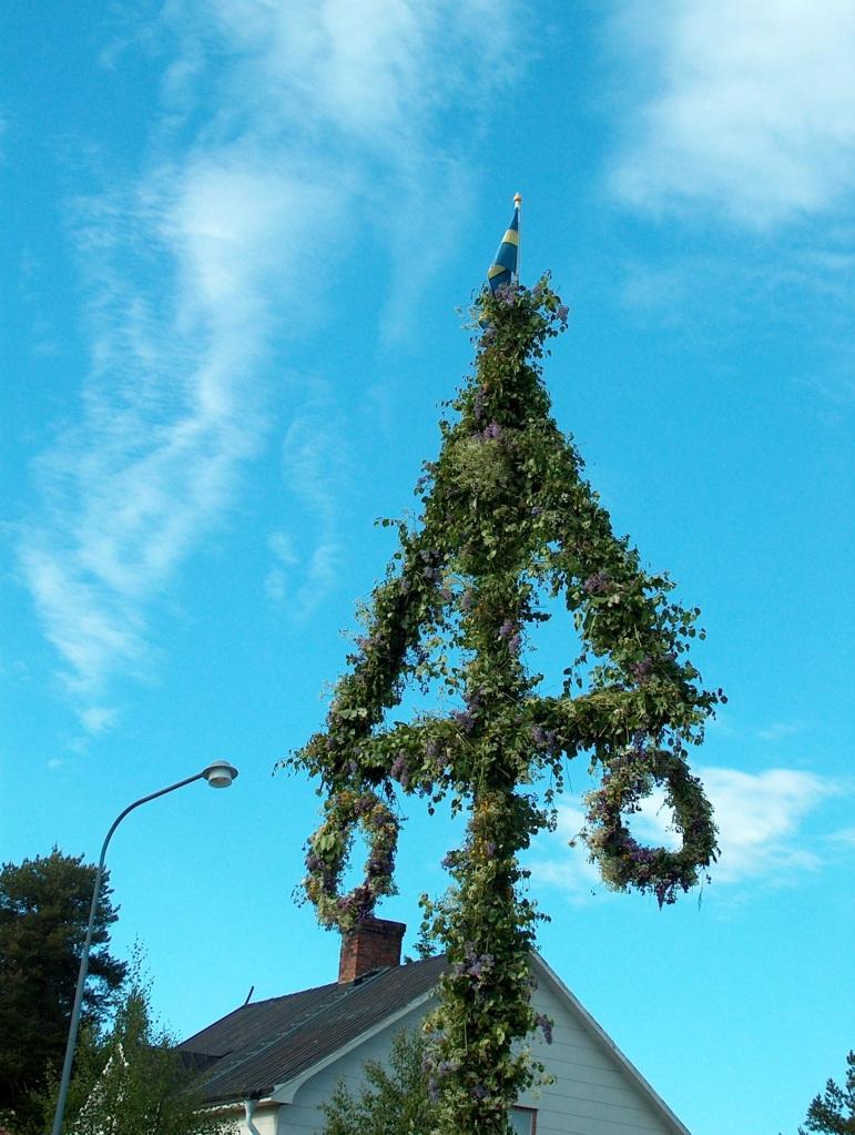 Swedish Maypole / majstång raised in every village