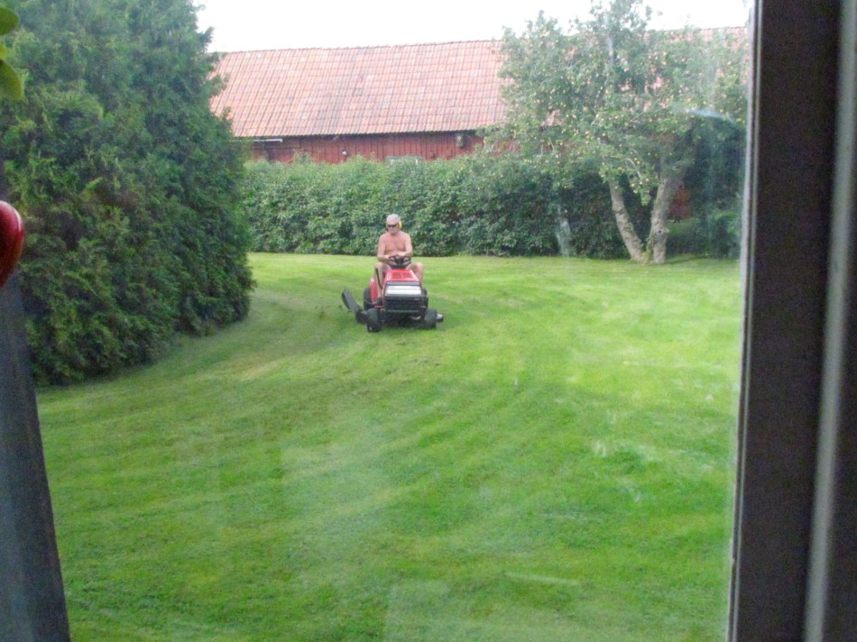 After other chores around the farm, it is time for lawn mowing