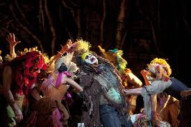 All of a sudden, the stage is filled with gayety and dancing, all trying to make Caliban feel beter