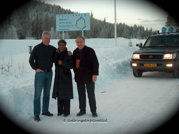 Here we are at the Polar Circle. Notice the lights on the vehicle, they are needed in bad snow storms in the north  especially