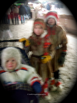 Sorry for the blurry photo, batteries were going low. Sami children in traditional clothing