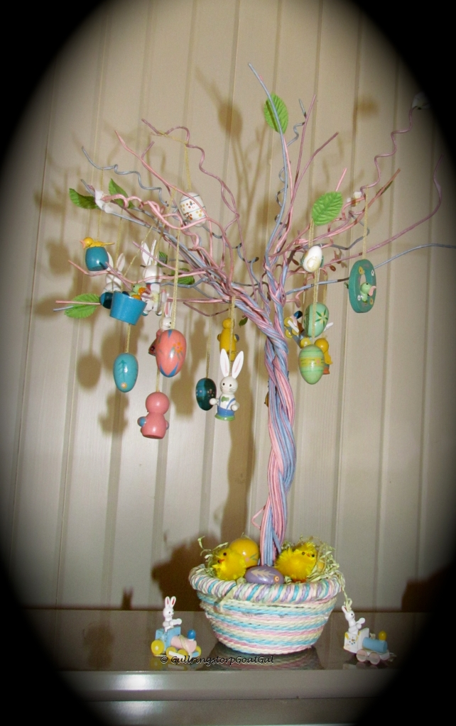 This is my little traditional Easter Tree with eggs and bunnies