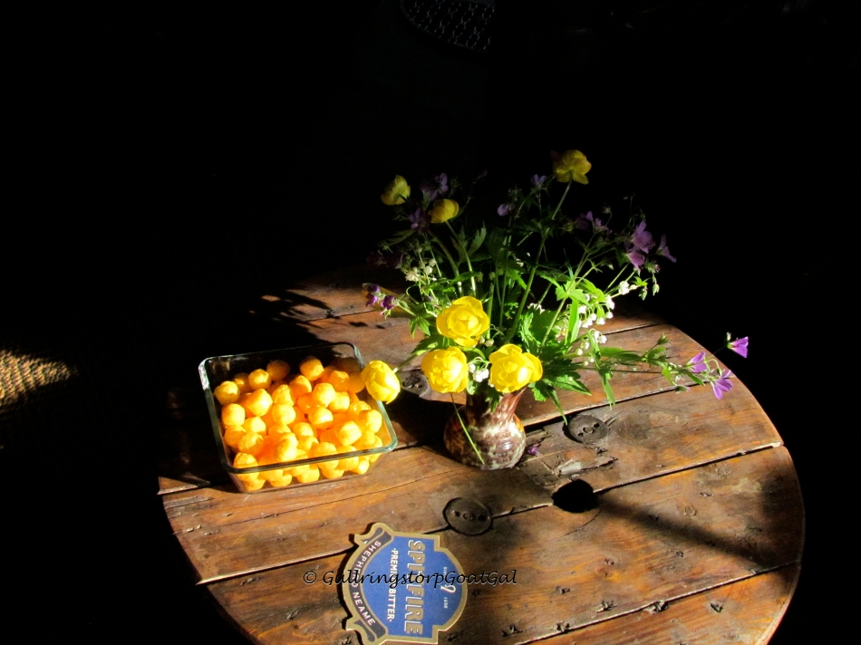 Snacks that are typically on offer at the Pub were presented along with beautiful wild flowers