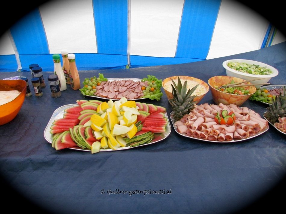Wow what a lovely spread! Fruits, salads, potato salad, and ham