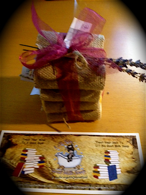 We gave Malin a gift set of 4 Li'l Sis Goat Milk Soaps, Honey Calendula, Milk & Honey, Orange Cream , Lavender Bubbles plus a Li'l Sis bookmark