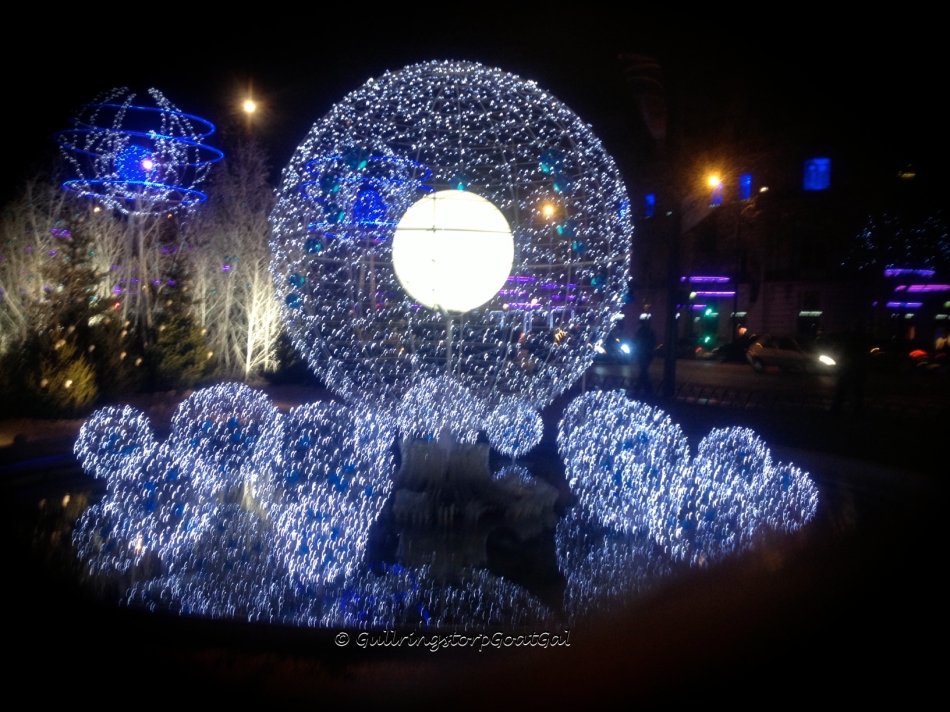 Beautiful Holiday decoration near the Theatre Champs-Élysées