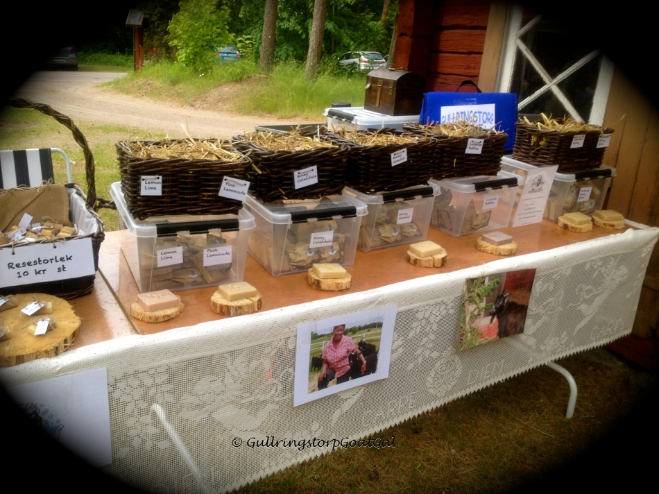 Oh dear. Raindrops! I had to pack up  the bulk of the soaps and left one out for display