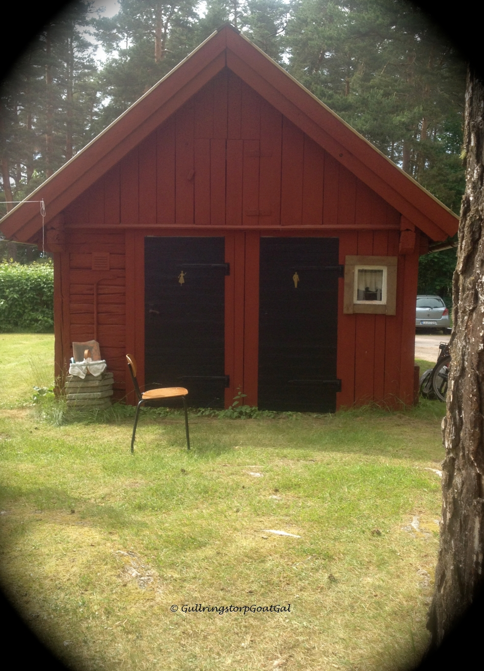 This cute little wooden building is actually a very old Swedish outhouse.