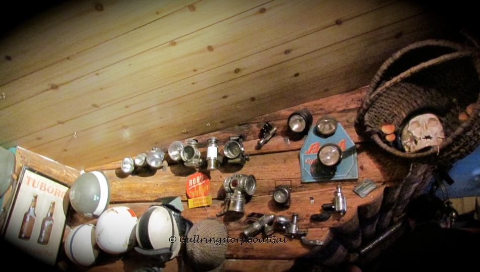 Vintage items fill the walls of the pub